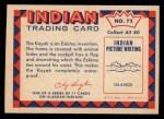 1959 Fleer Indian #72  Eskimo in kayak  Back Thumbnail