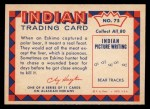 1959 Fleer Indian #75   Eskimo w/wounded polar bear Back Thumbnail