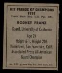 1951 Berk Ross #15 C  Rodney Franz Back Thumbnail