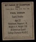 1951 Berk Ross #11 C Paul Unruh  Back Thumbnail