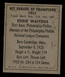 1951 Berk Ross #9 C  Eddie Waitkus Back Thumbnail