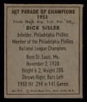 1951 Berk Ross #8 C  Dick Sisler Back Thumbnail