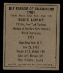 1951 Berk Ross #6 C  Eddie Lopat Back Thumbnail