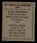 1951 Berk Ross #3 C Allie Reynolds  Back Thumbnail