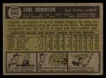 1961 Topps #343   Earl Robinson Back Thumbnail