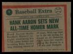 1975 Topps #1  Aaron Sets Homer Mark  -  Hank Aaron Back Thumbnail