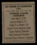 1951 Berk Ross #17 C  Yvonne Claire Sherman Back Thumbnail
