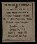 1951 Berk Ross #10 C  Ken Heintzelman Back Thumbnail