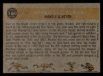 1960 Topps #160  Rival All-Stars  -  Mickey Mantle / Ken Boyer Back Thumbnail