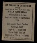 1951 Berk Ross #2 C  Bill Goodman Back Thumbnail