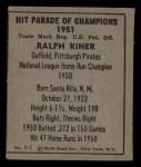 1951 Berk Ross #1 C  Ralph Kiner Back Thumbnail