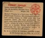 1950 Bowman #55  Robert Tinsley  Back Thumbnail