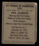 1951 Berk Ross #3 A  Phil Rizzuto Back Thumbnail