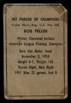 1952 Berk Ross #19   Bob Feller Back Thumbnail