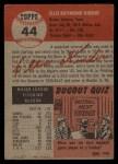 1953 Topps #44   Ellis Kinder Back Thumbnail