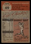 1953 Topps #49  Faye Throneberry  Back Thumbnail