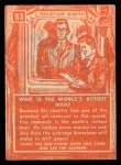 1957 Topps Isolation Booth #53   World's Richest Man Back Thumbnail