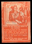 1957 Topps Isolation Booth #74  World's Smallest Book  Back Thumbnail