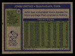 1972 Topps #165   Johnny Unitas Back Thumbnail