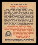 1949 Bowman #18  Bobby Thomson  Back Thumbnail