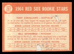 1964 Topps #287   Red Sox Rookie Stars  -  Tony Conigliaro / Bill Spanswick Back Thumbnail