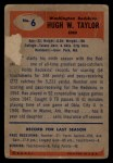 1955 Bowman #6   Hugh Taylor Back Thumbnail