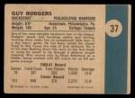 1961 Fleer #37  Guy Rodgers  Back Thumbnail