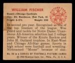 1950 Bowman #58   William Fischer Back Thumbnail