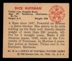 1950 Bowman #53  Dick Huffman  Back Thumbnail