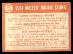 1964 Topps #127   Angels Rookie Stars  -  Dick Simpson / Aubrey Gatewood Back Thumbnail