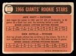 1966 Topps #373  Giants Rookies  -  Jack Hiatt / Dick Estelle Back Thumbnail