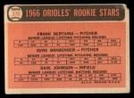 1966 Topps #579   -  Frank Bertaina / Gene Brabender / Davey Johnson Orioles Rookies Back Thumbnail