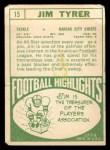 1968 Topps #15   Jim Tyrer Back Thumbnail