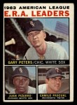 1964 Topps #2  AL ERA League Leaders  -  Gary Peters / Juan Pizarro / Camilo Pascual Front Thumbnail