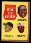 1962 Topps #54  NL HR Leaders  -  Orlando Cepeda / Willie Mays / Frank Robinson Front Thumbnail