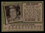 1971 Topps #430  Wes Parker  Back Thumbnail