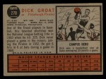 1962 Topps #270   Dick Groat Back Thumbnail