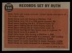 1962 Topps #144 A Farewell Speech  -  Babe Ruth Back Thumbnail