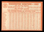 1964 Topps #343  Senators Team  Back Thumbnail