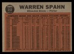 1962 Topps #312   -  Warren Spahn Spahn Shows No-Hit Form Back Thumbnail