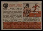 1962 Topps #111 A Dallas Green  Back Thumbnail