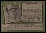 1971 Topps #94  Don Hahn  Back Thumbnail