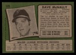 1971 Topps #320   Dave McNally Back Thumbnail