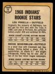 1968 Topps #16  Indians Rookies  -  Lou Piniella / Richie Scheinblum Back Thumbnail