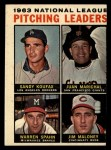 1964 Topps #3  NL Pitching Leaders  -  Sandy Koufax / Juan Marichal / Warren Spahn / Jim Maloney Front Thumbnail