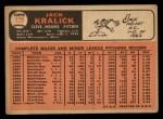 1966 Topps #129   Jack Kralick Back Thumbnail