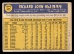 1970 Topps #475   Dick McAuliffe Back Thumbnail