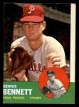 1963 Topps #56  Dennis Bennett  Front Thumbnail