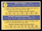 1970 Topps #7  Indians Rookie Stars  -  Gary Boyd / Russ Nagelson Back Thumbnail
