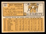 1963 Topps #353   Billy Williams Back Thumbnail